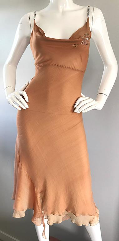 1990s Lolita Lempicka Silk Chiffon Terracotta Tan Rhinestone Vintage 90s Dress For Sale 2