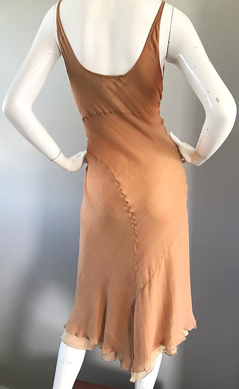 1990s Lolita Lempicka Silk Chiffon Terracotta Tan Rhinestone Vintage 90s Dress For Sale 3