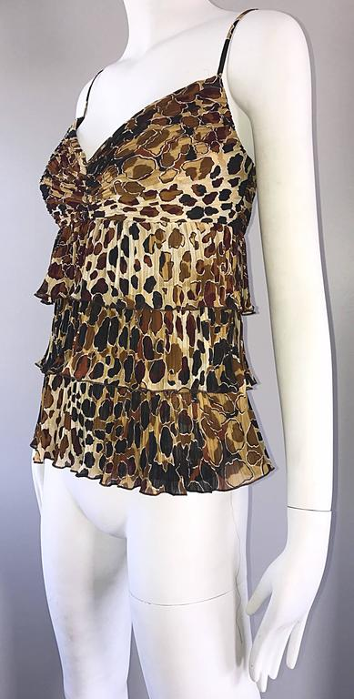 92c30fec6045 Women's New Escada Leopard Cheetah Print Silk Tiered Sleeveless Tiered  Empire Blouse 38 For Sale