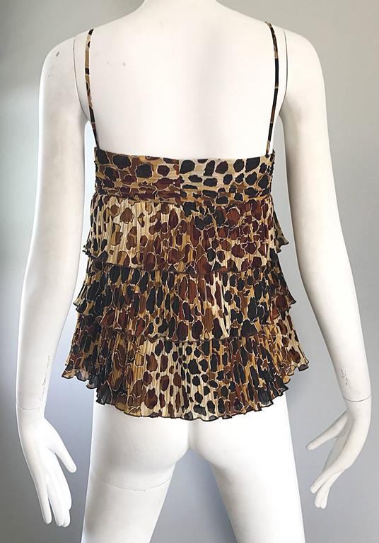 7cfb40d35cc7 New Escada Leopard Cheetah Print Silk Tiered Sleeveless Tiered Empire  Blouse 38 For Sale 3