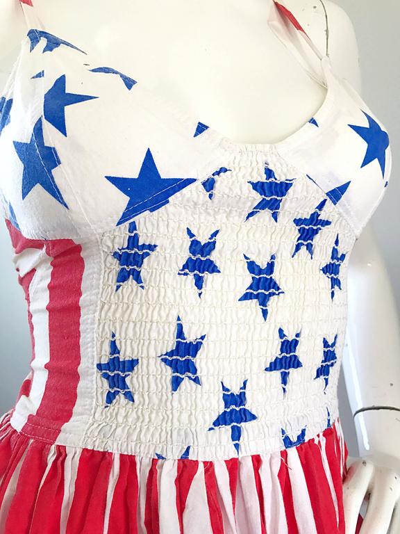 Beige Rare Vintage Boy London 1980s American Flag Hand Painted Cotton 80s Dress For Sale