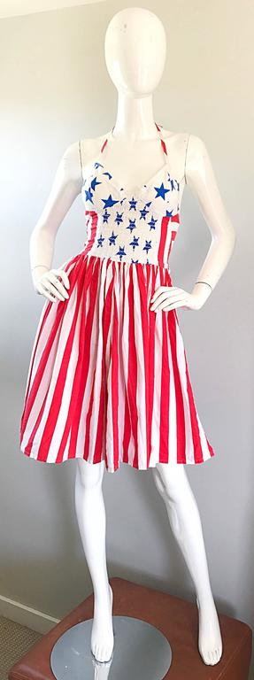 Rare Vintage Boy London 1980s American Flag Hand Painted Cotton 80s Dress In Excellent Condition For Sale In Chicago, IL