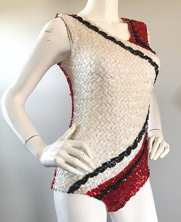 1960s Red White Black Color Block Sequined Majorette