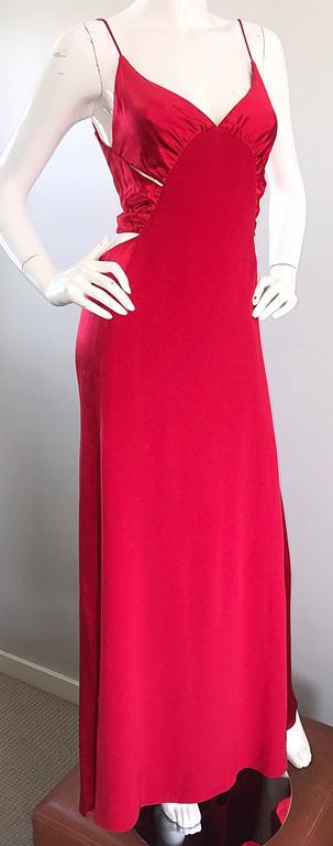 Women's 1990s Angel Sanchez Size 6 Vintage Lipstick Red Cut Out Silk Satin Evening Gown For Sale