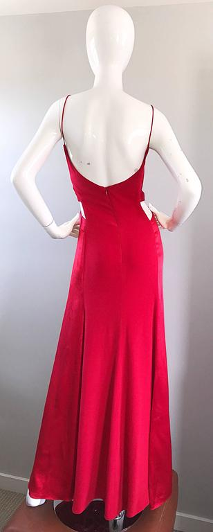 1990s Angel Sanchez Size 6 Vintage Lipstick Red Cut Out Silk Satin Evening Gown For Sale 1