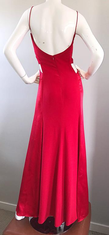 1990s Angel Sanchez Size 6 Vintage Lipstick Red Cut Out Silk Satin Evening Gown For Sale 4