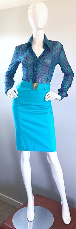 1990s Fendi By Karl Lagerfeld Vintage Turquoise Teal Blue Cotton Skirt w FF Belt 2