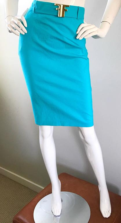 1990s Fendi By Karl Lagerfeld Vintage Turquoise Teal Blue Cotton Skirt w FF Belt 3