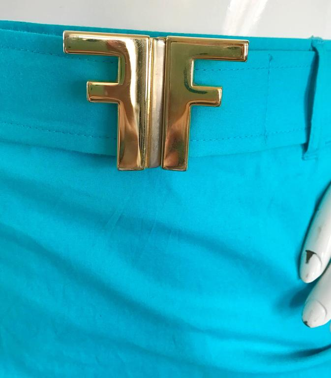1990s Fendi By Karl Lagerfeld Vintage Turquoise Teal Blue Cotton Skirt w FF Belt 4