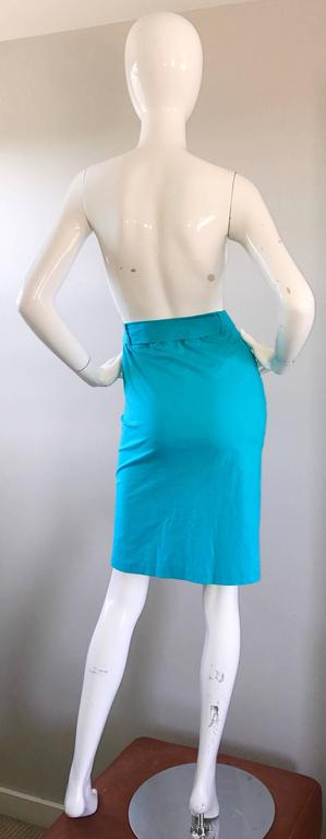 1990s Fendi By Karl Lagerfeld Vintage Turquoise Teal Blue Cotton Skirt w FF Belt 5