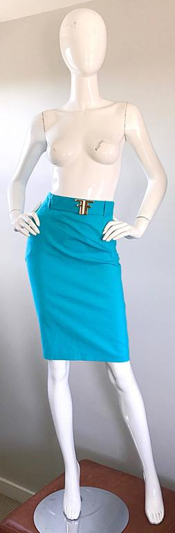1990s Fendi By Karl Lagerfeld Vintage Turquoise Teal Blue Cotton Skirt w FF Belt 6