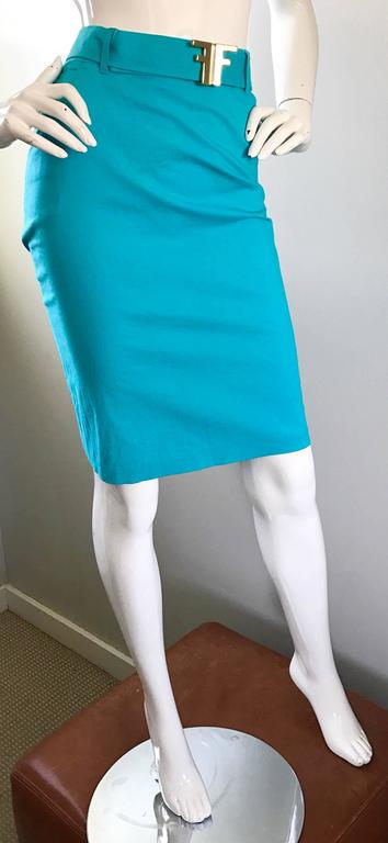 1990s Fendi By Karl Lagerfeld Vintage Turquoise Teal Blue Cotton Skirt w FF Belt 7