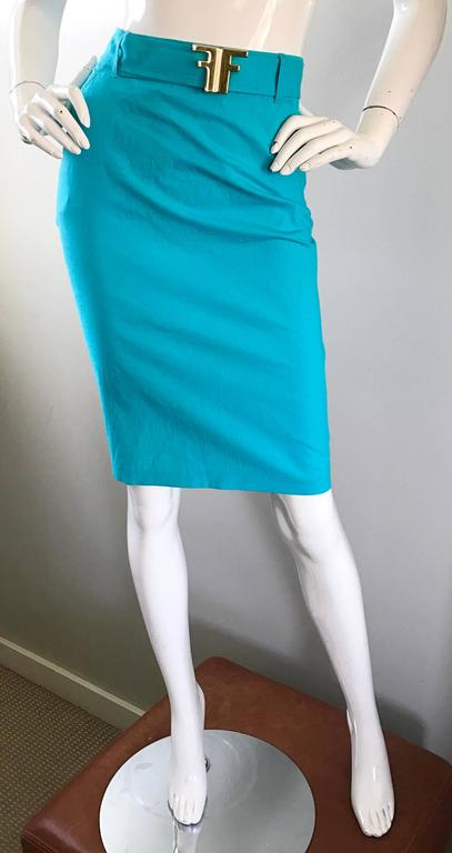 1990s Fendi By Karl Lagerfeld Vintage Turquoise Teal Blue Cotton Skirt w FF Belt 8