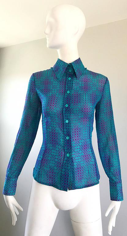 1970s Fendi by Karl Lagerfeld Turquoise + Purple Op Art Silk Chiffon Blouse Top 3