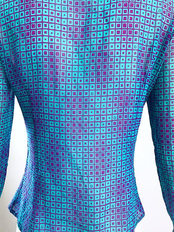1970s Fendi by Karl Lagerfeld Turquoise + Purple Op Art Silk Chiffon Blouse Top 4