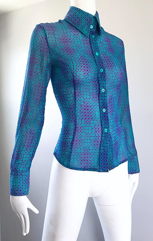 1970s Fendi by Karl Lagerfeld Turquoise + Purple Op Art Silk Chiffon Blouse Top 6