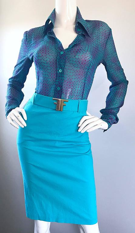 1970s Fendi by Karl Lagerfeld Turquoise + Purple Op Art Silk Chiffon Blouse Top 8