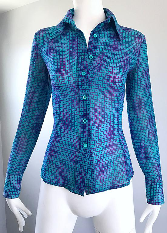 1970s Fendi by Karl Lagerfeld Turquoise + Purple Op Art Silk Chiffon Blouse Top 9