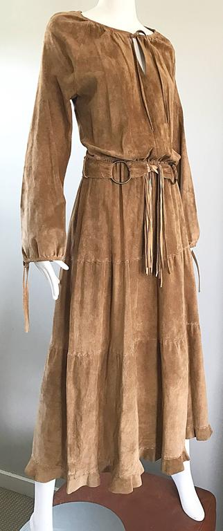 1970s Leather Suede Tan Brown Boho Belted Vintage 70s Long