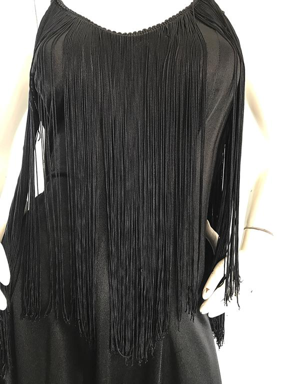 Amazing 1970s Black Disco Fringe Handkerchief Hem Flapper Style Vintage Dress  In Excellent Condition For Sale In Chicago, IL