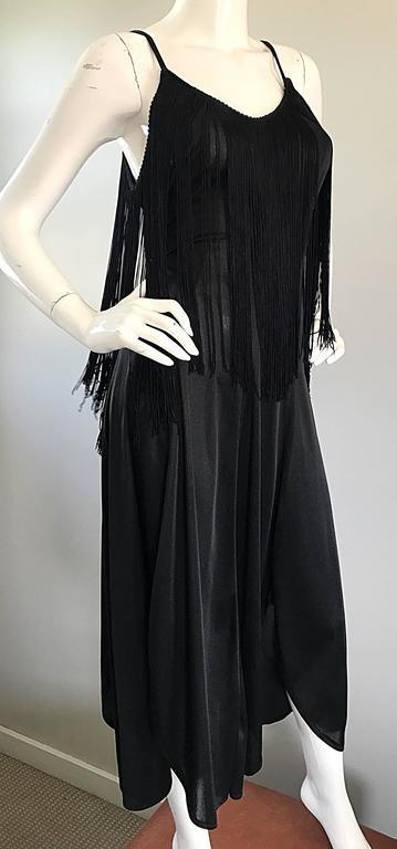 Women's Amazing 1970s Black Disco Fringe Handkerchief Hem Flapper Style Vintage Dress  For Sale
