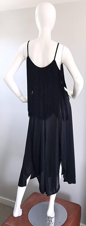 Amazing 1970s Black Disco Fringe Handkerchief Hem Flapper Style Vintage Dress  For Sale 1