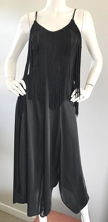Amazing 1970s Black Disco Fringe Handkerchief Hem Flapper Style Vintage Dress  For Sale 2