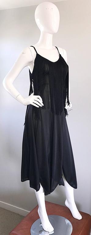 Amazing 1970s Black Disco Fringe Handkerchief Hem Flapper Style Vintage Dress  For Sale 3