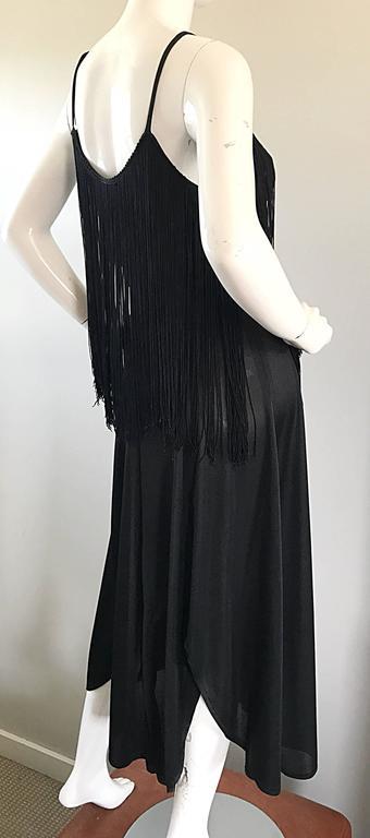 Amazing 1970s Black Disco Fringe Handkerchief Hem Flapper Style Vintage Dress  For Sale 4