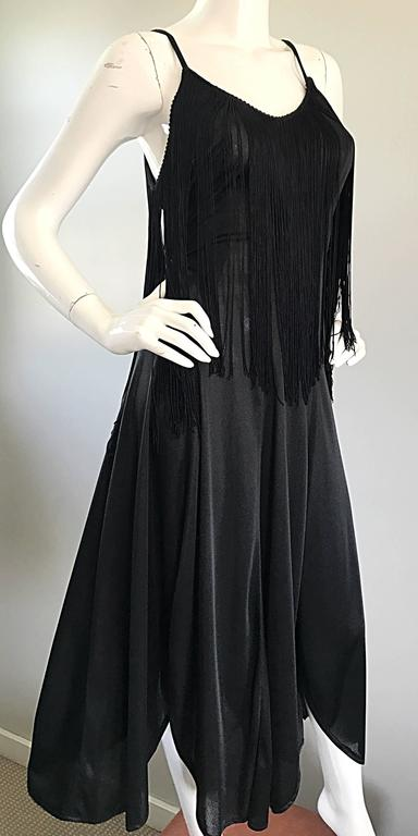 Amazing 1970s Black Disco Fringe Handkerchief Hem Flapper Style Vintage Dress  For Sale 5