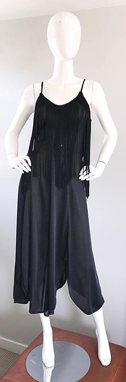 Amazing 1970s Black Disco Fringe Handkerchief Hem Flapper Style Vintage Dress  For Sale 6