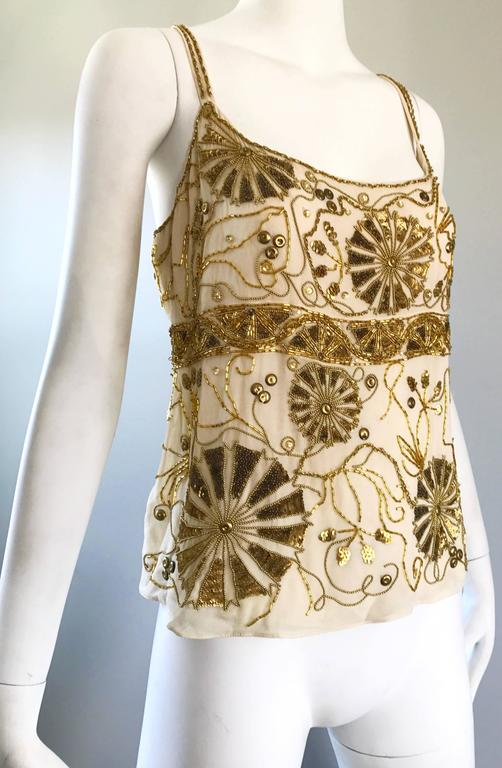 Plus Size Vintage Emanuel Ungaro 1990s Beige + Gold Silk Chiffon 90s Beaded Top In Excellent Condition For Sale In Chicago, IL