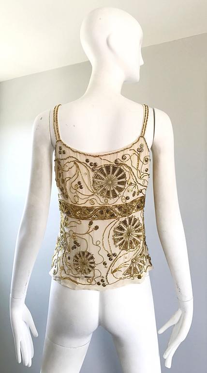 Women's Plus Size Vintage Emanuel Ungaro 1990s Beige + Gold Silk Chiffon 90s Beaded Top For Sale