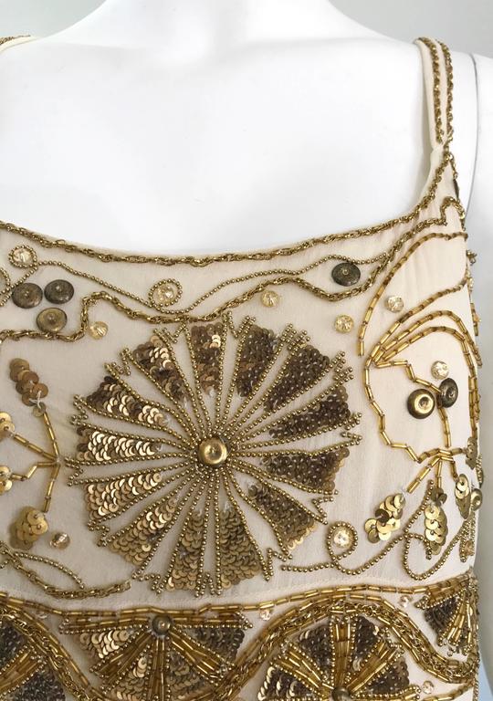 Plus Size Vintage Emanuel Ungaro 1990s Beige + Gold Silk Chiffon 90s Beaded Top For Sale 1