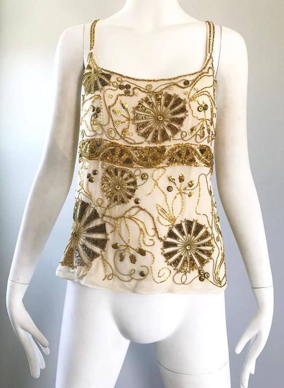 Plus Size Vintage Emanuel Ungaro 1990s Beige + Gold Silk Chiffon 90s Beaded Top For Sale 2