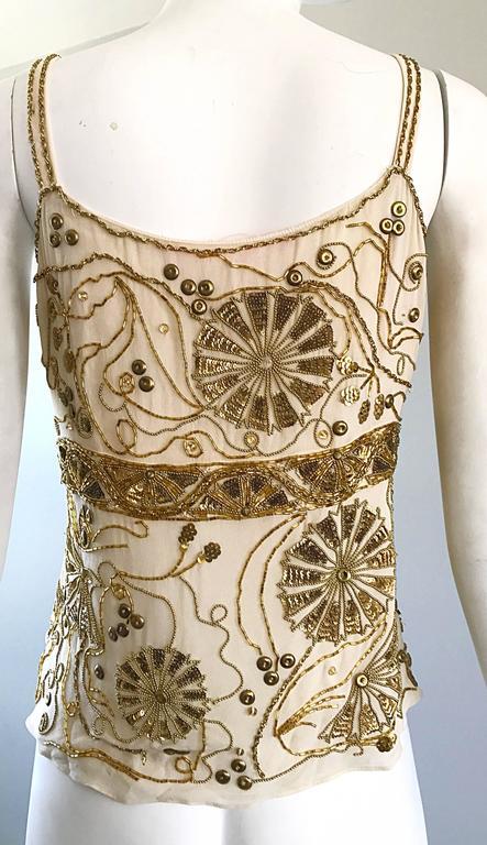 Plus Size Vintage Emanuel Ungaro 1990s Beige + Gold Silk Chiffon 90s Beaded Top For Sale 4
