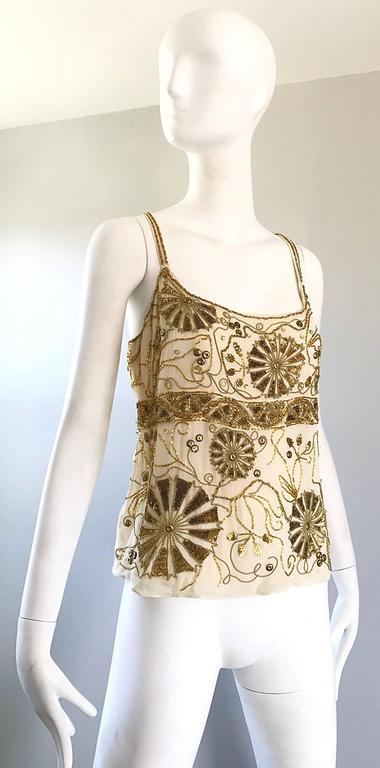 Plus Size Vintage Emanuel Ungaro 1990s Beige + Gold Silk Chiffon 90s Beaded Top For Sale 3