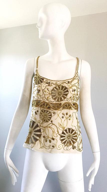 Plus Size Vintage Emanuel Ungaro 1990s Beige + Gold Silk Chiffon 90s Beaded Top For Sale 5