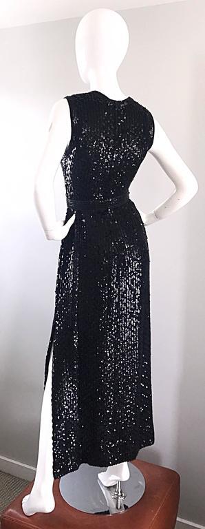 Women's 1970s Lillie Rubin Black Silk Sequin Belted Vintage 70s Sleeveless Evening Dress For Sale