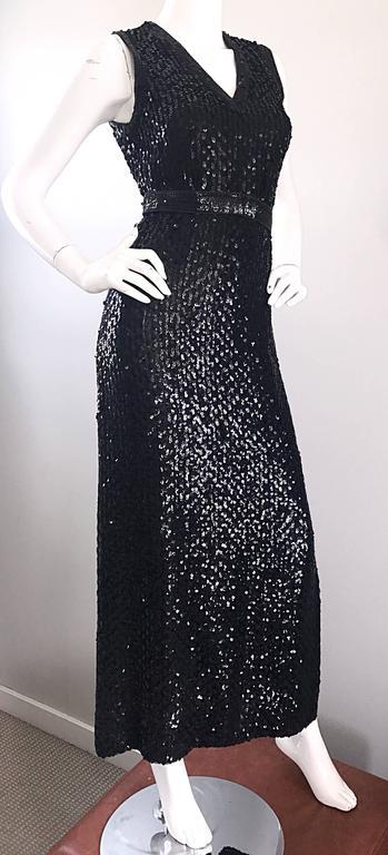 1970s Lillie Rubin Black Silk Sequin Belted Vintage 70s Sleeveless Evening Dress For Sale 1