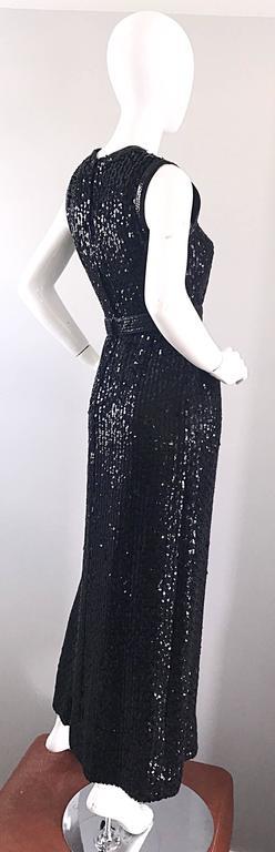 1970s Lillie Rubin Black Silk Sequin Belted Vintage 70s Sleeveless Evening Dress For Sale 2