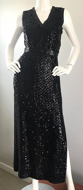 1970s Lillie Rubin Black Silk Sequin Belted Vintage 70s Sleeveless Evening Dress For Sale 3