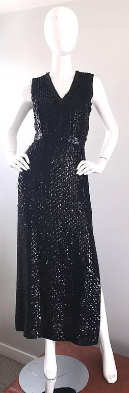 1970s Lillie Rubin Black Silk Sequin Belted Vintage 70s Sleeveless Evening Dress For Sale 5