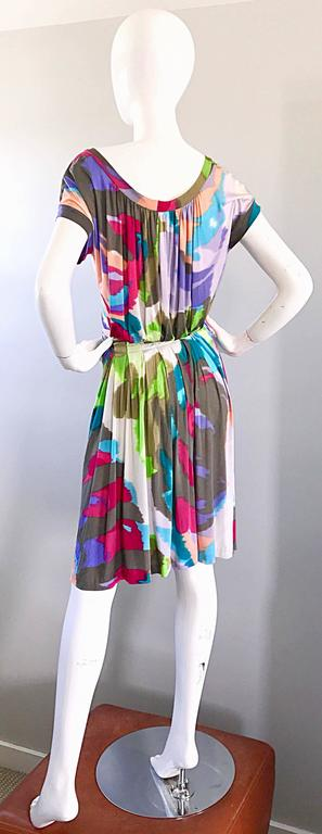 Women's New Etro Silk Jersey Tie Dye Print Belted Short Sleeve Vibrant Colorful Dress  For Sale
