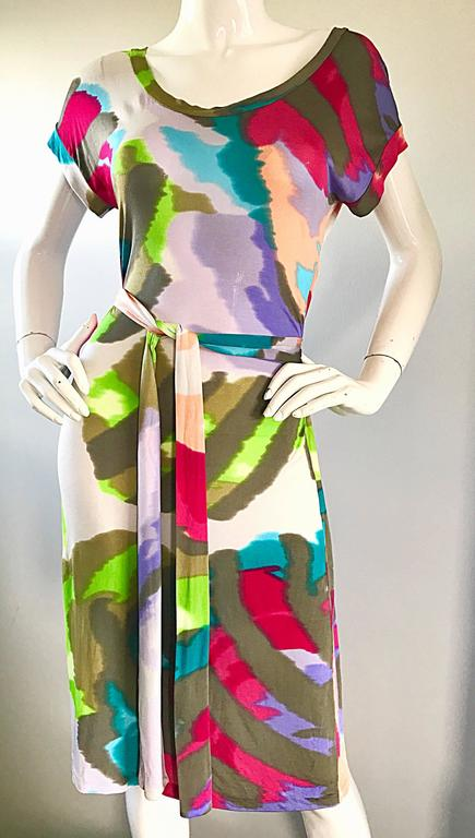 New Etro Silk Jersey Tie Dye Print Belted Short Sleeve Vibrant Colorful Dress  For Sale 2