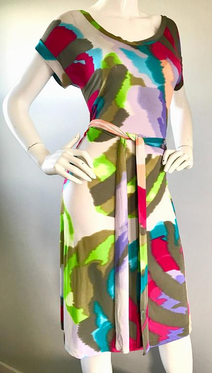 New Etro Silk Jersey Tie Dye Print Belted Short Sleeve Vibrant Colorful Dress  For Sale 3