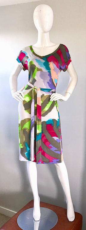 New Etro Silk Jersey Tie Dye Print Belted Short Sleeve Vibrant Colorful Dress  For Sale 4