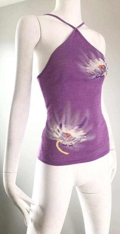 Vintage Gianni Versace Spring 1992 Hand Woven Purple 3-D Ombre Halter 1990s Top For Sale 1