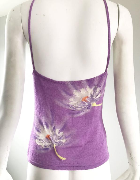 Vintage Gianni Versace Spring 1992 Hand Woven Purple 3-D Ombre Halter 1990s Top For Sale 4