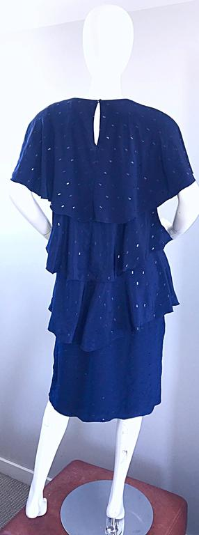 Women's Vintage Holly's Harp Size Large Navy Blue Sequin Flapper Inispired Silk Dress  For Sale